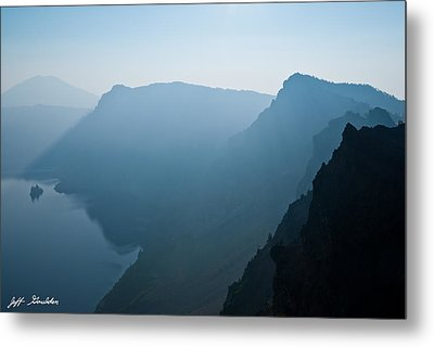 Metal Print featuring the photograph Early Morning Fog Over Crater Lake by Jeff Goulden