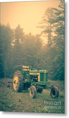 Early Morning Tractor In Farm Field Metal Print