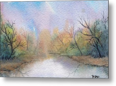 Metal Print featuring the painting Early Morning Waterway by Rebecca Davis