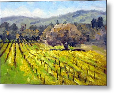 Early Mustard In The Vineyards Metal Print by Char Wood
