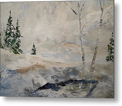 Metal Print featuring the painting Early Snow by Alan Lakin
