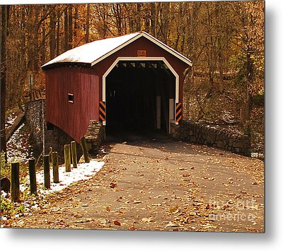 Metal Print featuring the photograph Early Snowfall On Wooden Covered Bridge by Bob Sample
