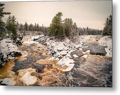 Metal Print featuring the photograph Early Snowfall On The Saint Louis River by Mark David Zahn