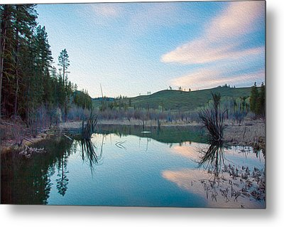 Early Sunset On A Beaver Pond  Metal Print by Omaste Witkowski