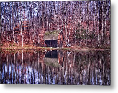 Early Winter At The Boat House Metal Print by Daphne Sampson