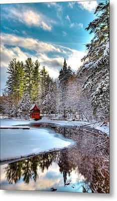 Early Winter At The Red Boathouse Metal Print by David Patterson