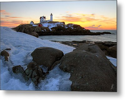 Early Winter Morning At Cape Neddick Lighthouse Metal Print by Brett Pelletier