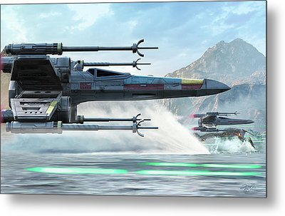Early X-wing Model Cruising Over A Lake Metal Print by Kurt Miller