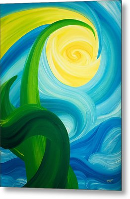 Metal Print featuring the painting Earth And Sky Meet by Ginny Gaura