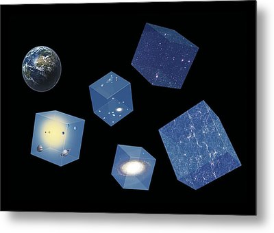 Earth And Space, Conceptual Artwork Metal Print by Science Photo Library
