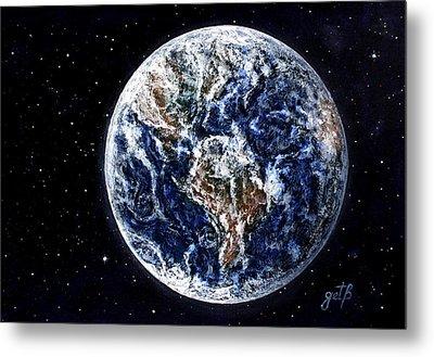 Earth Beauty Original Acrylic Painting Metal Print by Georgeta Blanaru