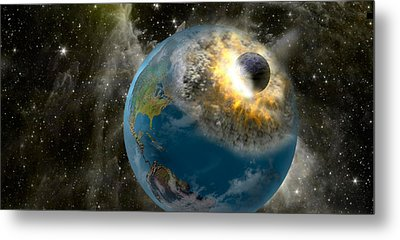 Earth Being Hit By A Planet Killing Metal Print by Panoramic Images