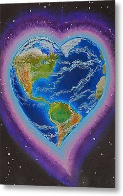 Earth Equals Heart Metal Print by R Neville Johnston