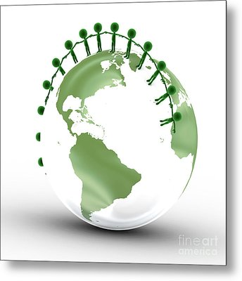 Earth Globe And Conceptual People Together Metal Print by Michal Bednarek