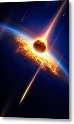 Earth In A  Meteor Shower Metal Print