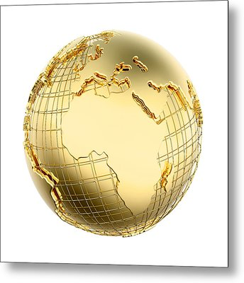 Earth In Gold Metal Isolated - Africa Metal Print by Johan Swanepoel
