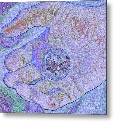 Earth In Hand Metal Print by First Star Art