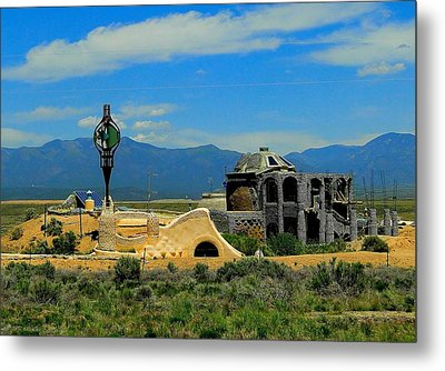 Earth Ships Of New Mexico Metal Print by Cindy Croal