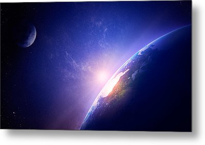 Earth Sunrise In Foggy Space Metal Print by Johan Swanepoel
