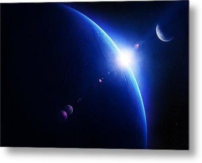 Earth Sunrise With Moon In Space Metal Print by Johan Swanepoel