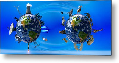Earth With Circle Of Props Metal Print by Panoramic Images