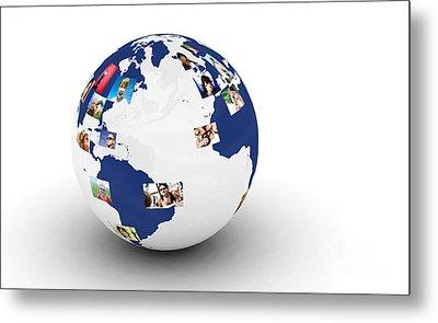 Earth With People Photos In Network Metal Print by Michal Bednarek