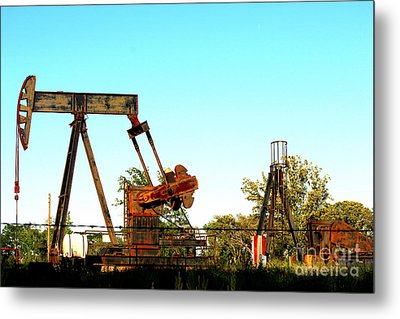 East Texas Oil Field Metal Print by Kathy  White