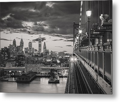 Eastbound Encounter In Black And White Metal Print