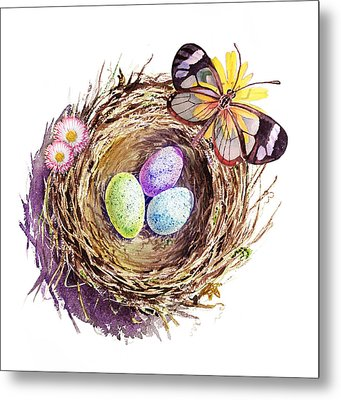 Easter Colors Bird Nest Metal Print