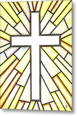 Metal Print featuring the painting Easter Cross 3 by Jim Harris