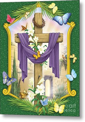 Easter Cross Metal Print