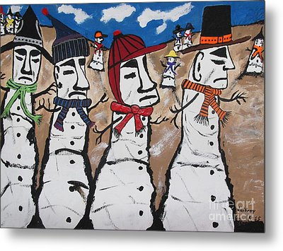 Easter Island Snow Men Metal Print by Jeffrey Koss