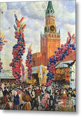 Easter Market At The Moscow Kremlin Metal Print by Boris Mikhailovich Kustodiev