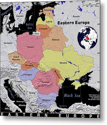 Eastern Europe Exotic Map Metal Print by Florene Welebny