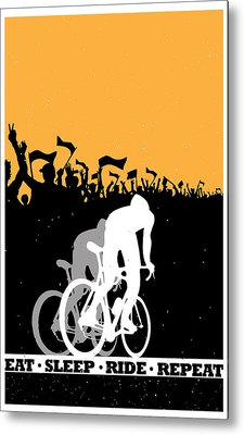 Eat Sleep Ride Repeat Metal Print