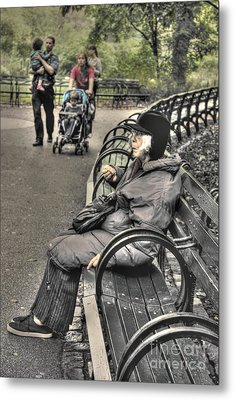 Eating Alone In Central Park Metal Print by David Bearden