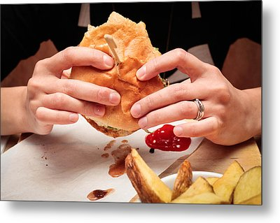Eating Burger Metal Print by Tom Gowanlock