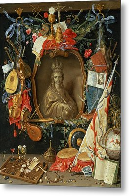 Ecclesia Surrounded By Symbols Of Vanity On Copper Metal Print