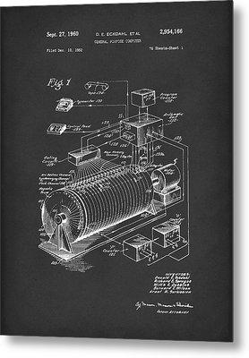 Eckdahl Computer 1960 Patent Art Black Metal Print