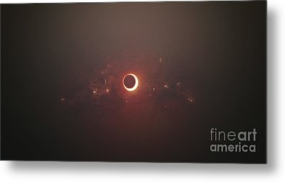 Eclipse Of The Sun In Nearby Solar Metal Print