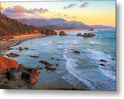 Ecola Beach Sunset Metal Print
