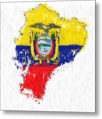 Ecuador Painted Flag Map Metal Print by Antony McAulay