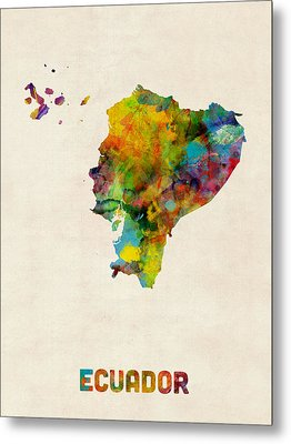 Ecuador Watercolor Map Metal Print by Michael Tompsett