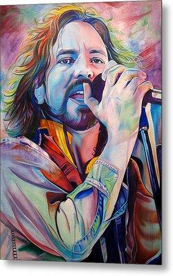 Eddie Vedder In Pink And Blue Metal Print