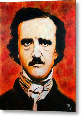 Metal Print featuring the painting Edgar Allan Poe by Bob Baker
