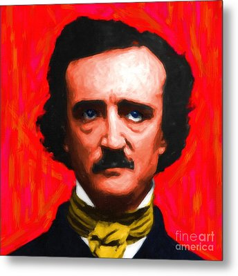 Edgar Allan Poe - Painterly - Square Metal Print by Wingsdomain Art and Photography