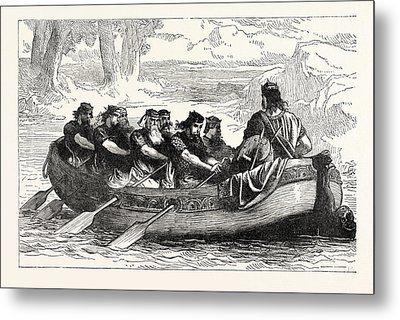 Edgar The Peaceable Being Rowed Down The Dee By Eight Metal Print