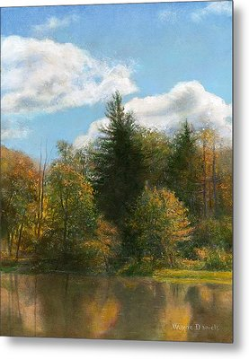 Metal Print featuring the painting Edge Of The Pond by Wayne Daniels