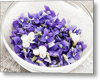 Edible Violets In Bowl Metal Print by Elena Elisseeva