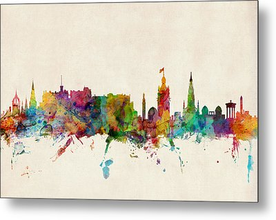 Edinburgh Scotland Skyline Metal Print by Michael Tompsett